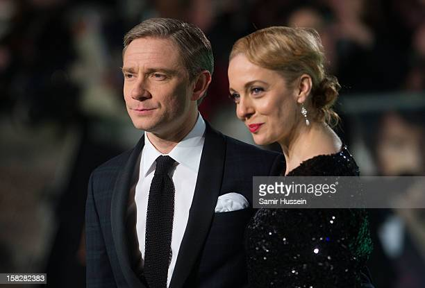 Martin Freeman and Amanda Abbington attend a royal film performance of 'The Hobbit An Unexpected Journey' at The Empire Leicester Square on December...