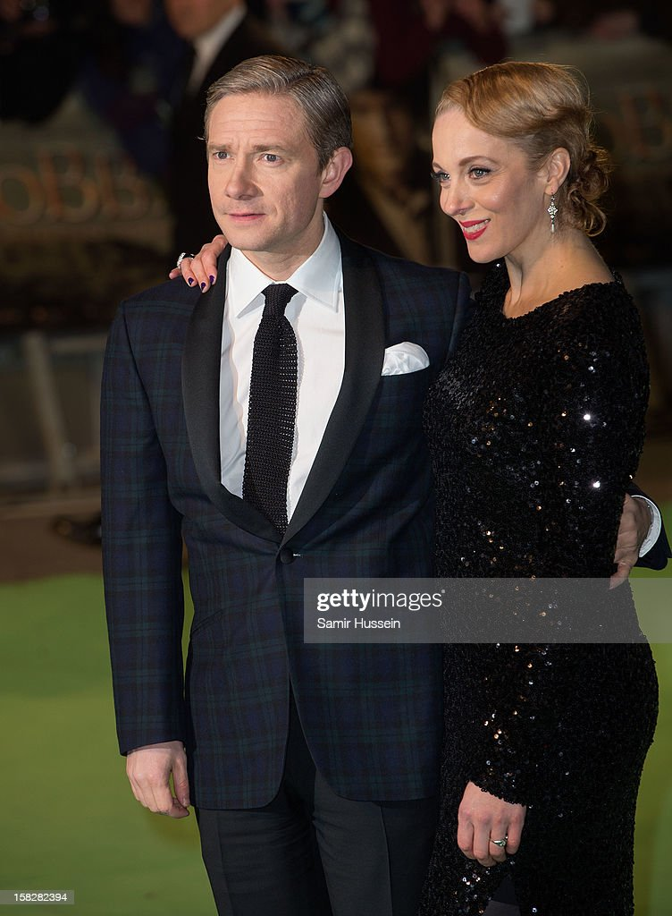 Martin Freeman and Amanda Abbington attend a royal film performance of 'The Hobbit: An Unexpected Journey' at The Empire Leicester Square on December 12, 2012 in London, England.