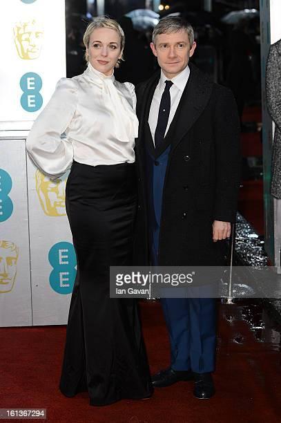 Martin Freeman and Amanda Abbington attend the EE British Academy Film Awards at The Royal Opera House on February 10 2013 in London England