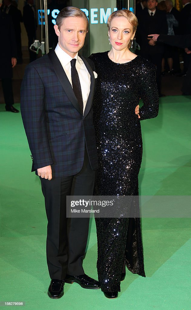 Martin Freeman and Amanda Abbington attend the Royal Film Performance of 'The Hobbit: An Unexpected Journey' at Odeon Leicester Square on December 12, 2012 in London, England.