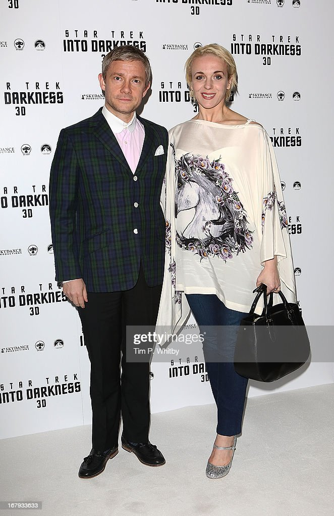 <a gi-track='captionPersonalityLinkClicked' href=/galleries/search?phrase=Martin+Freeman&family=editorial&specificpeople=214753 ng-click='$event.stopPropagation()'>Martin Freeman</a> and Amanda Abington attend the IMAX 3D Premiere of 'Star Trek Into Darkness' at BFI IMAX on May 2, 2013 in London, England.