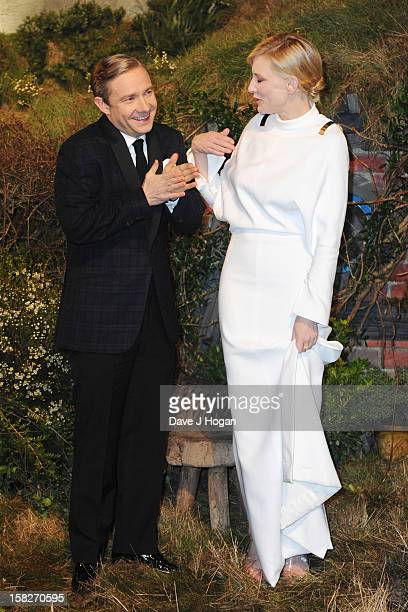 Martin Freeman and Cate Blanchett attend a royal film performance of 'The Hobbit An Unexpected Journey' at The Empire Leicester Square on December 12...