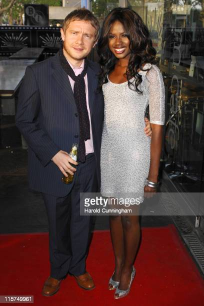 Martin Freeman and June Sarpong during Cobravision Awards 2007 Arrivals at BFI in London Great Britain