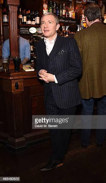 Martin Freeman attends a drinks reception celebrating the first anniversary of 'Sunny Afternoon' in the West End at the Tom Cribb pub on October 20...