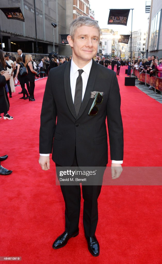 <a gi-track='captionPersonalityLinkClicked' href=/galleries/search?phrase=Martin+Freeman&family=editorial&specificpeople=214753 ng-click='$event.stopPropagation()'>Martin Freeman</a> attends the Laurence Olivier Awards at The Royal Opera House on April 13, 2014 in London, England.