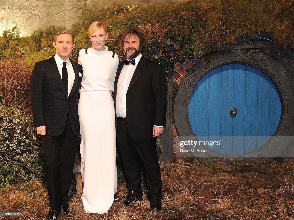 Martin Freeman, Cate Blanchett and Peter Jackson attend the Royal Film Performance of 'The Hobbit: An Unexpected Journey' at Odeon Leicester Square on December 12, 2012 in London, England.