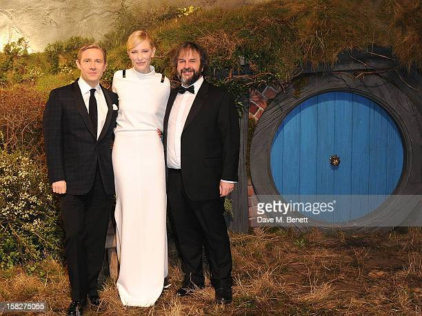 Martin Freeman Cate Blanchett and Peter Jackson attend the Royal Film Performance of 'The Hobbit An Unexpected Journey' at Odeon Leicester Square on...