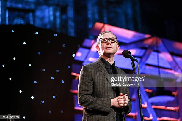 Martin Freeman presents the Best Album award at the BBC Folk Awards at Royal Albert Hall on April 27 2016 in London England
