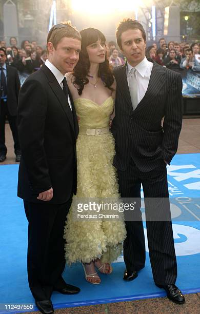Martin Freeman Zooey Deschanel and Sam Rockwell during 'Hitchhiker's Guide to the Galaxy' London Premiere Outside Arrivals at Empire Leicester Square...