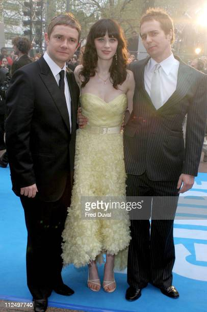 Martin Freeman Zooey Deschanel and Sam Rockwell during 'Hitchhiker's Guide to the Galaxy' London Premiere at Leicester Square The Dorchester in...