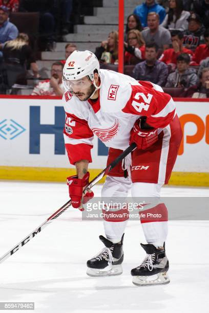 Martin Frk of the Detroit Red Wings prepares for a faceoff against the Ottawa Senators at Canadian Tire Centre on October 7 2017 in Ottawa Ontario...