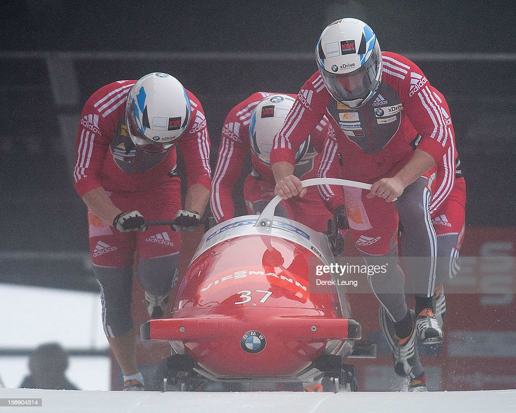 Martin Galliker, Kevin Mitterhuber, Abraham Morlu, and Thomas Amrhein of Switzerland 2 compete in the four-man bobsleigh on day 2 of the IBSF 2012 Bobsleigh and Skeleton World Cup on November 24, 2012 at the Whistler Sliding Centre in Whistler, British Columbia, Canada.