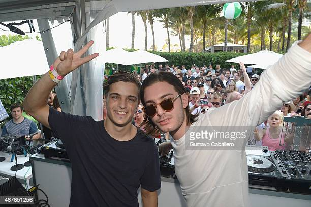 Martin Garrix and Alesso perform at SiriusXM's 'UMF Radio' Broadcast Live From The SiriusXM Music Lounge at W Hotel on March 26 2015 in Miami Florida
