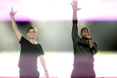 Martin Garrix and Usher perform during the Ultra Music Festival at Bayfront Park Amphitheater on March 28 2015 in Miami Florida