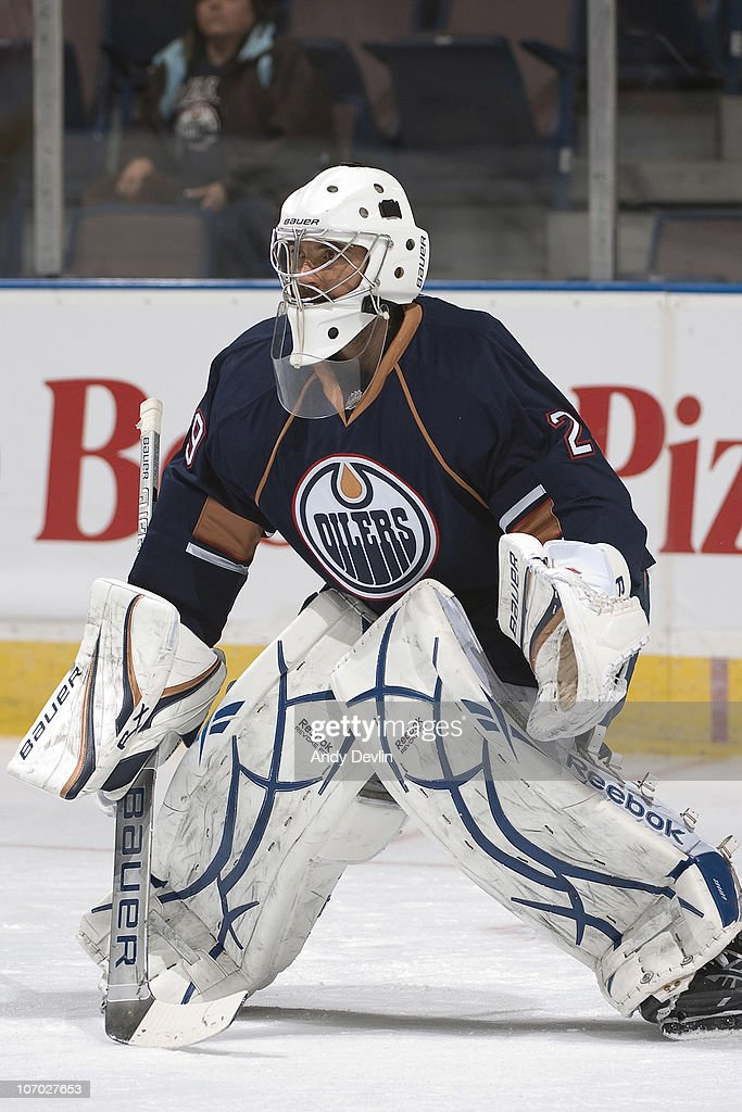 <a gi-track='captionPersonalityLinkClicked' href=/galleries/search?phrase=Martin+Gerber&family=editorial&specificpeople=206957 ng-click='$event.stopPropagation()'>Martin Gerber</a> #29 of the Edmonton Oilers warms up before a game against the Phoenix Coyotes at Rexall Place on November 19, 2010 in Edmonton, Alberta, Canada.