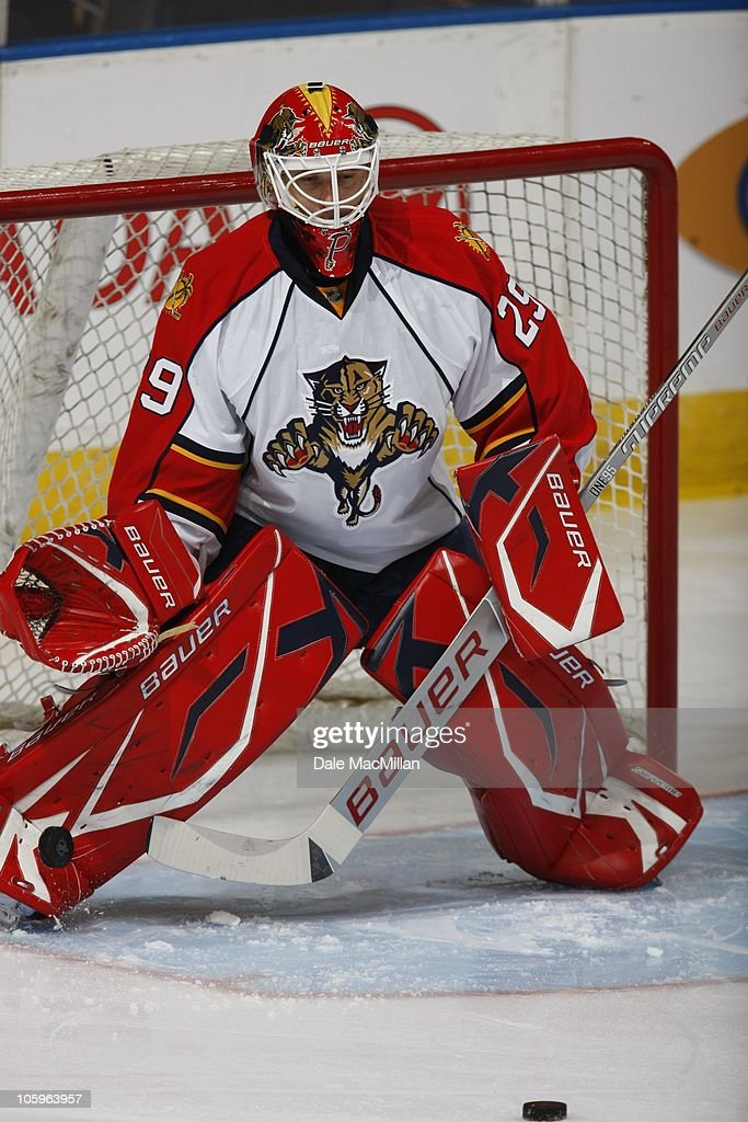 <a gi-track='captionPersonalityLinkClicked' href=/galleries/search?phrase=Martin+Gerber&family=editorial&specificpeople=206957 ng-click='$event.stopPropagation()'>Martin Gerber</a> #29 of the Florida Panthers goaltends against the Edmonton Oilers on October 10, 2010 at Rexall Place in Edmonton, Alberta, Canada.