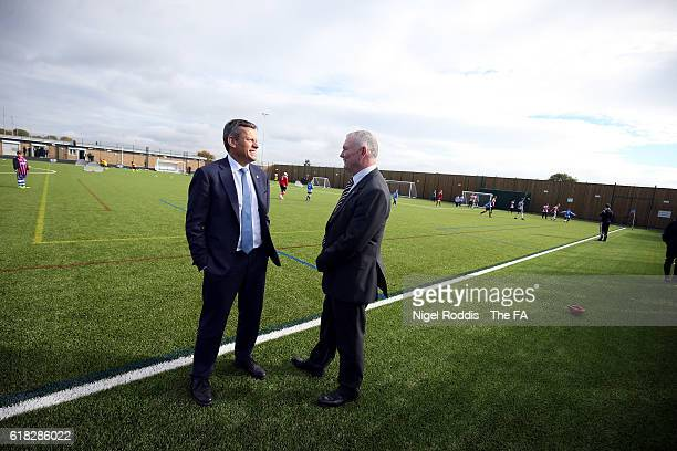 Martin Glenn FA CEO and Greg Clarke FA Chairman during the opening of St George's Park Sheffield Graves on October 26 2016 in Sheffield England
