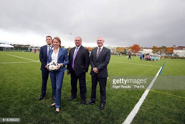 Martin Glenn FA CEO Tracey Crouch Sports Minister Nick Bitel Sport England Chairman and Greg Clarke FA Chairman during the opening of St George's...