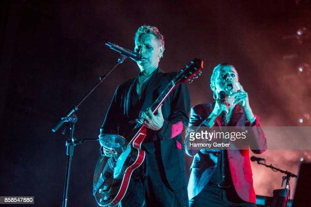 Martin Gore and Dave Gahan of Depeche Mode perform at Mattress Firm Amphitheatre on October 6 2017 in Chula Vista California