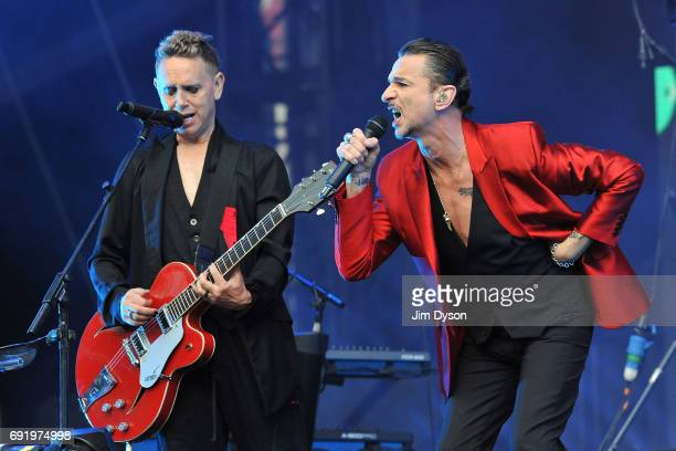 Martin Gore and Dave Gahan of Depeche Mode perform live on stage during the 'Spirit' tour at the London Stadium in the Queen Elizabeth Olympic Park...