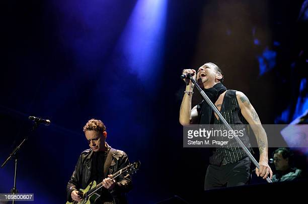 Martin Gore and Dave Gahan of Depeche Mode perform on stage at Olympiastadion on June 1 2013 in Munich Germany