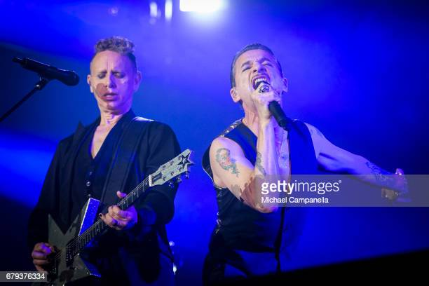 Martin Gore and Dave Gahan of the band Depeche Mode performs in concert at Friends Arena during their Global Spirit Tour on May 5 2017 in Stockholm...