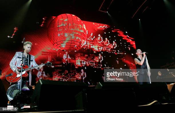 Martin Gore and David Gahan of Depeche Mode perform at 02 Arena on December 15 2009 in London England