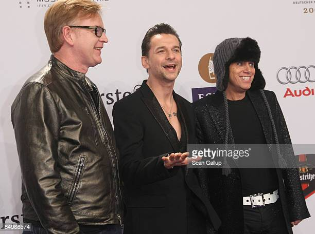 Martin Gore David Gahan and Andrew Fletcher of the British band Depeche Mode attend the 2009 Echo Music Awards at the O2 Arena on February 21 2009 in...