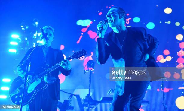 Martin Gore Guitarist and Dave Gahan lead singer for Depeche Mode perform during the Global Spirit Tour at American Airlines Arena on September 15...