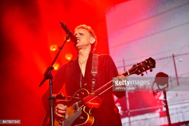 Martin Gore Guitarist for Depeche Mode performs during the Global Spirit Tour at American Airlines Arena on September 15 2017 in Miami Florida