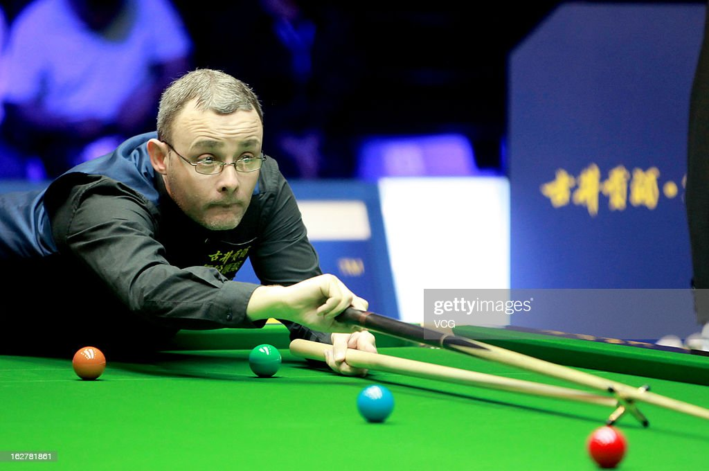 Martin Gould of England plays a shot during the match against Shaun Murphy of England on day Two of the 2013 World Snooker Haikou Open at Haikou Convention & Exhibition Center on February 26, 2013 in Haikou, Hainan Province of China.