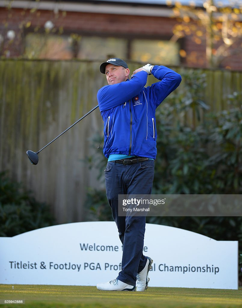 Martin Griffin of Moseley Golf Club plays his first shot on the 1st tee during the PGA Professional Championship - Midland Qualifier at Little Aston Golf Club on April 29, 2016 in Sutton Coldfield, England.