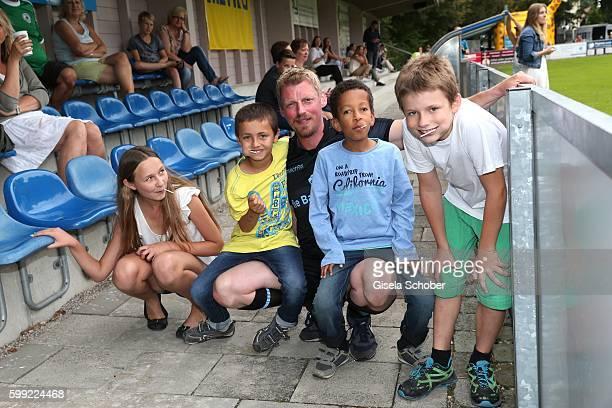 Martin Gruber and fans during the charity football game 'Kick for Kids' to benefit 'Die Seilschaft zusammen sind wir stark eV' at the Prof Ernst...