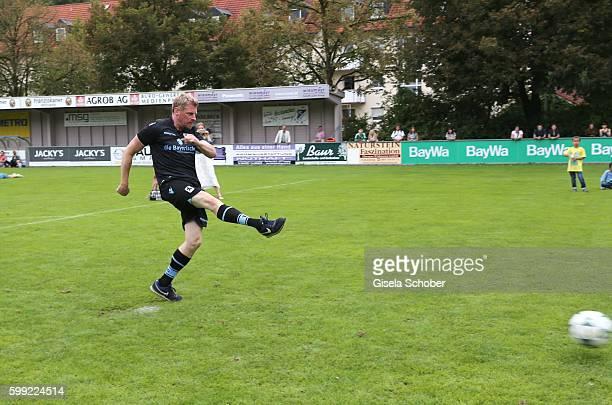 Martin Gruber plays soccer during the charity football game 'Kick for Kids' to benefit 'Die Seilschaft zusammen sind wir stark eV' at the Prof Ernst...