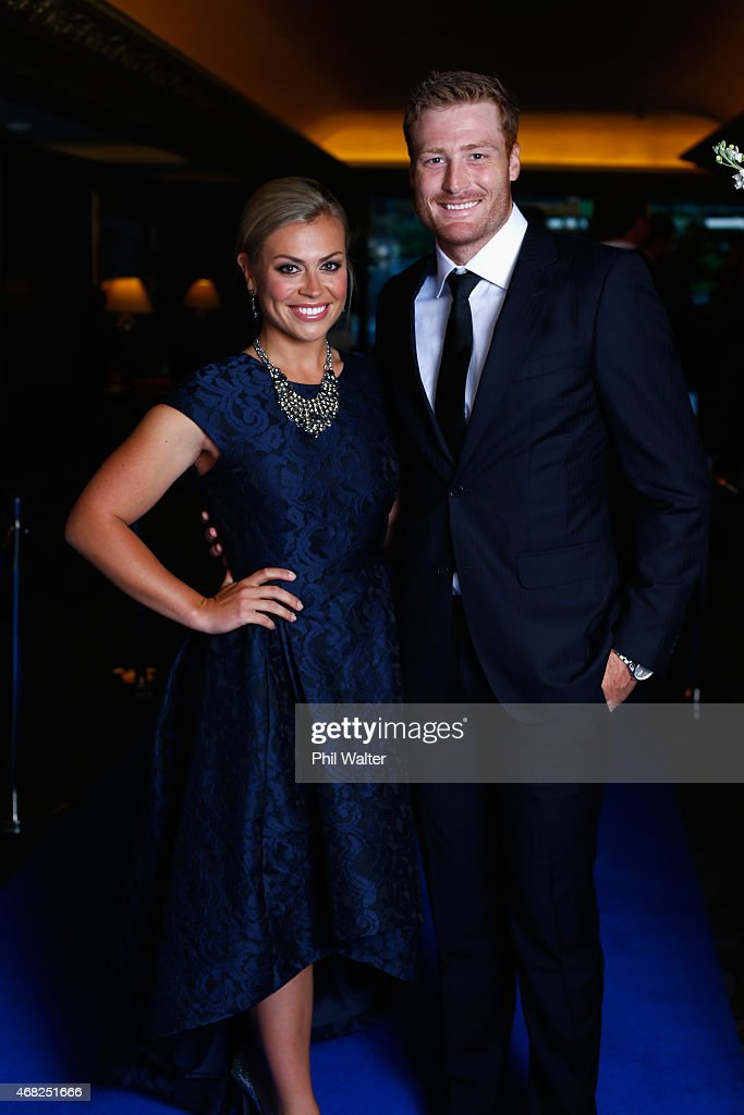 <a gi-track='captionPersonalityLinkClicked' href=/galleries/search?phrase=Martin+Guptill&family=editorial&specificpeople=797559 ng-click='$event.stopPropagation()'>Martin Guptill</a> and Laura McGoldrick during the New Zealand Cricket Awards at The Langham Hotel on April 1, 2015 in Auckland, New Zealand.