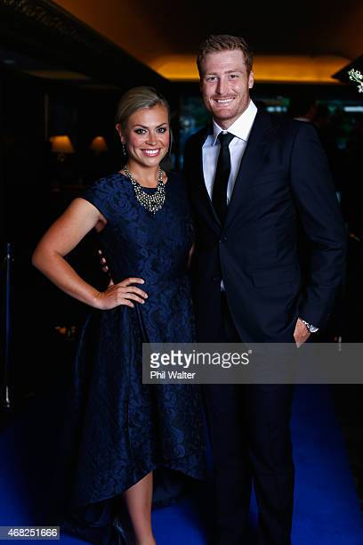 Martin Guptill and Laura McGoldrick during the New Zealand Cricket Awards at The Langham Hotel on April 1 2015 in Auckland New Zealand