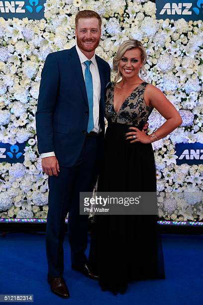 Martin Guptill and Laura McGoldrick pose ahead of the 2016 New Zealand cricket awards at the Viaduct Events Centre on February 25 2016 in Auckland...