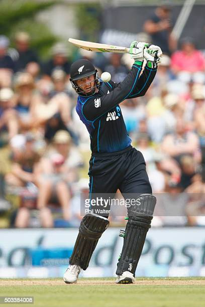 Martin Guptill bats during game five of the One Day International series between New Zealand and Sri Lanka at Bay Oval on January 5 2016 in Mount...