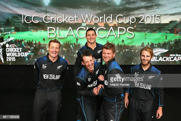 Martin Guptill Luke Ronchi Nathan McCullum Mitchell McClenaghan and Kane Williamson of New Zealand Black Caps pose during the New Zealand 2015 ICC...