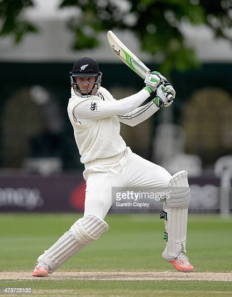 Martin Guptill of New Zealand bats during day four of the tour match between Worcestershire and New Zealand at New Road on May 17 2015 in Worcester...