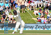 Martin Guptill of New Zealand bats during day one of the First Test match between New Zealand and Sri Lanka at University Oval on December 10 2015 in...