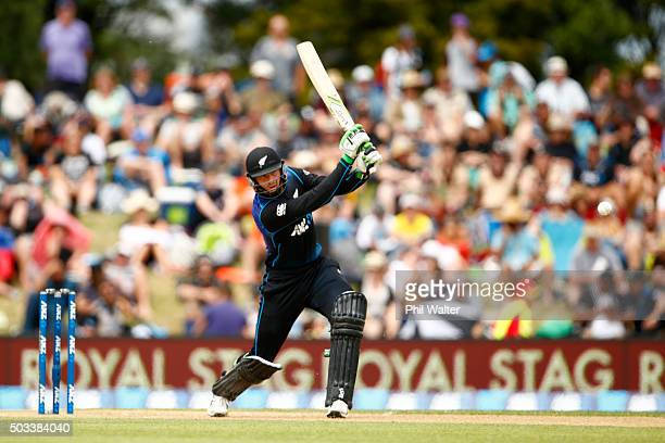 Martin Guptill of New Zealand bats during game five of the One Day International series between New Zealand and Sri Lanka at Bay Oval on January 5...