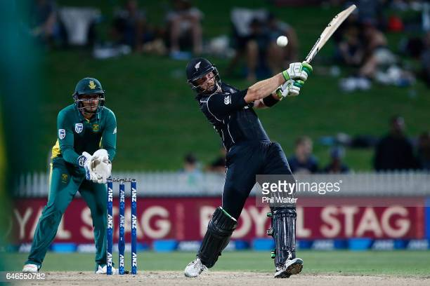 Martin Guptill of New Zealand bats during game four of the One Day International series between New Zealand and South Africa at on March 1 2017 in...
