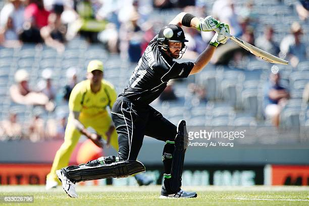 Martin Guptill of New Zealand bats during the first One Day International game between New Zealand and Australia at Eden Park on January 30 2017 in...