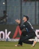 Martin Guptill of New Zealand catches out Lahiru Thirimanne of Sri Lanka during the ICC World Twenty20 Bangladesh 2014 Group 1 match between Sri...