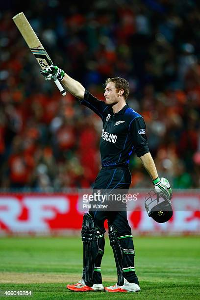 Martin Guptill of New Zealand celebrates his century during the 2015 ICC Cricket World Cup match between Bangladesh and New Zealand at Seddon Park on...