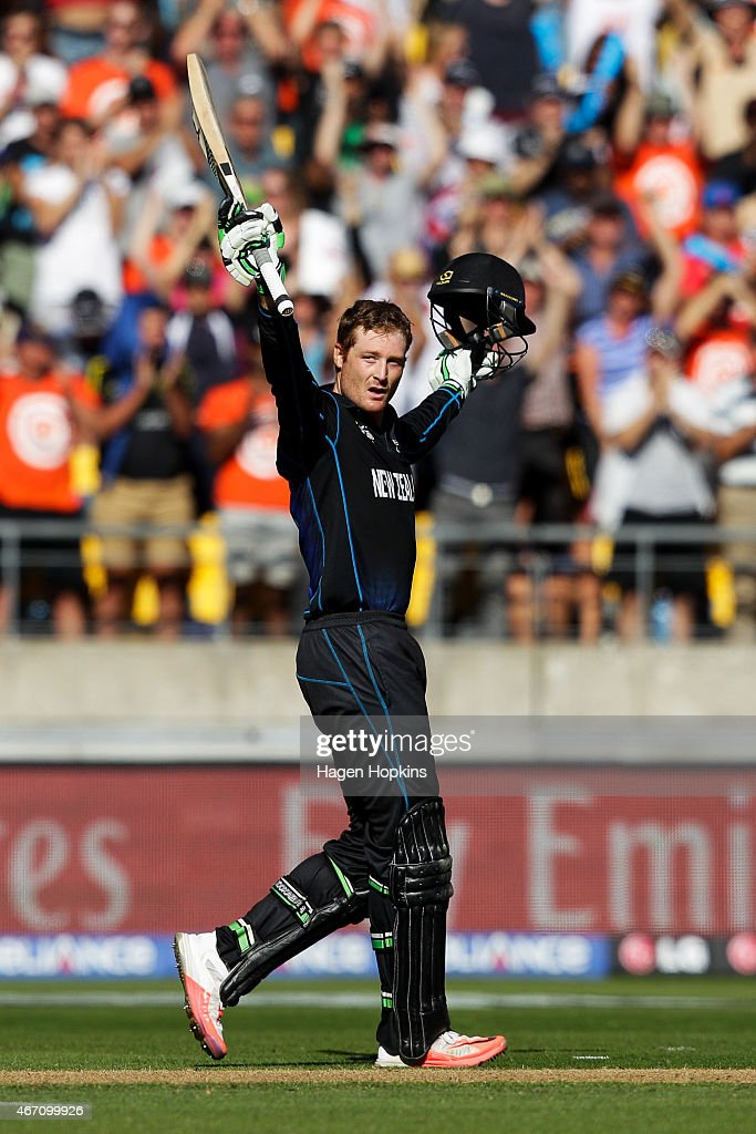 <a gi-track='captionPersonalityLinkClicked' href=/galleries/search?phrase=Martin+Guptill&family=editorial&specificpeople=797559 ng-click='$event.stopPropagation()'>Martin Guptill</a> of New Zealand celebrates his century during the 2015 ICC Cricket World Cup match between New Zealand and the West Indies at Wellington Regional Stadium on March 21, 2015 in Wellington, New Zealand.