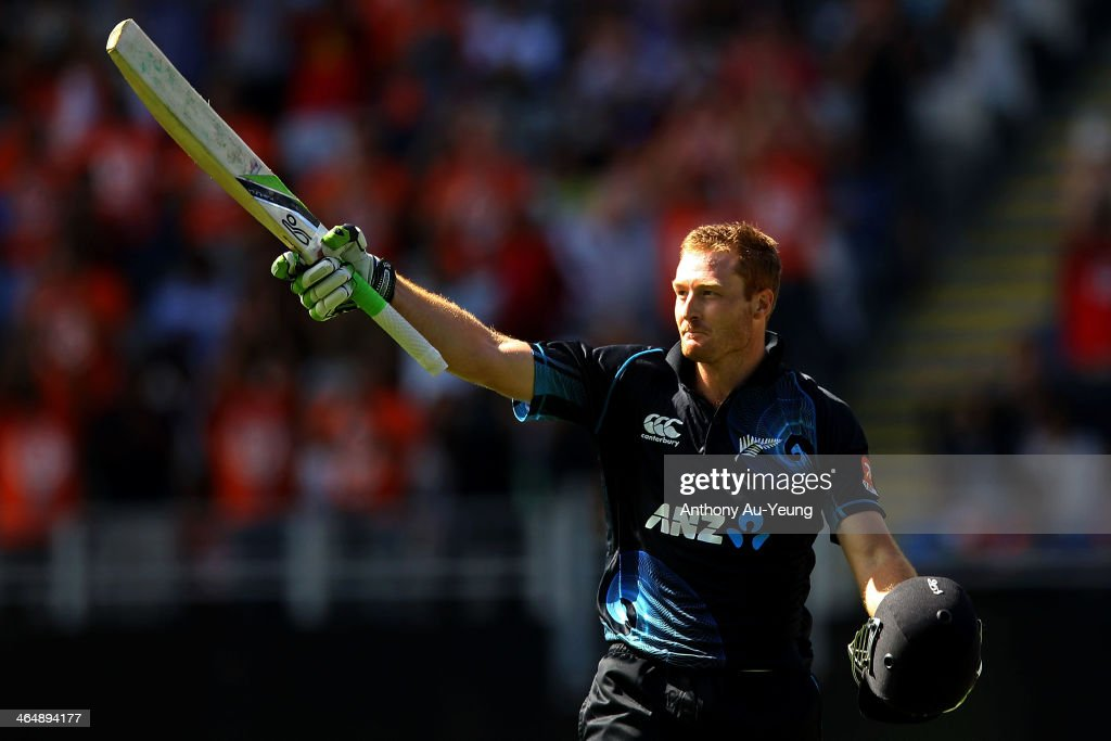 <a gi-track='captionPersonalityLinkClicked' href=/galleries/search?phrase=Martin+Guptill&family=editorial&specificpeople=797559 ng-click='$event.stopPropagation()'>Martin Guptill</a> of New Zealand celebrates his century during the One Day International match between New Zealand and India at Eden Park on January 25, 2014 in Auckland, New Zealand.