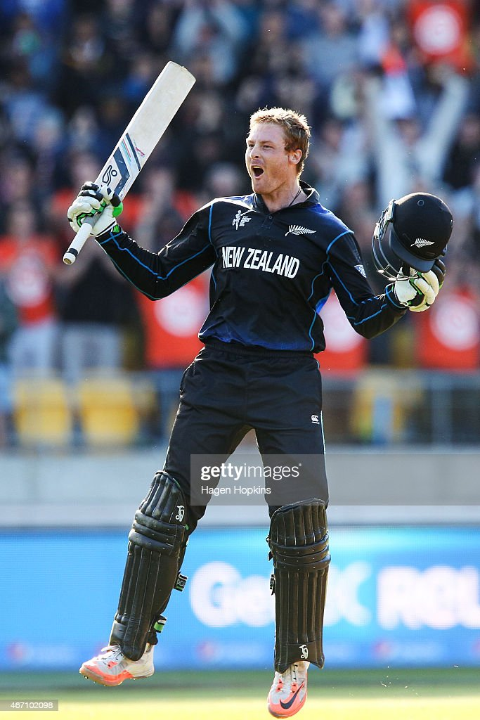 <a gi-track='captionPersonalityLinkClicked' href=/galleries/search?phrase=Martin+Guptill&family=editorial&specificpeople=797559 ng-click='$event.stopPropagation()'>Martin Guptill</a> of New Zealand celebrates his double century during the 2015 ICC Cricket World Cup match between New Zealand and the West Indies at Wellington Regional Stadium on March 21, 2015 in Wellington, New Zealand.