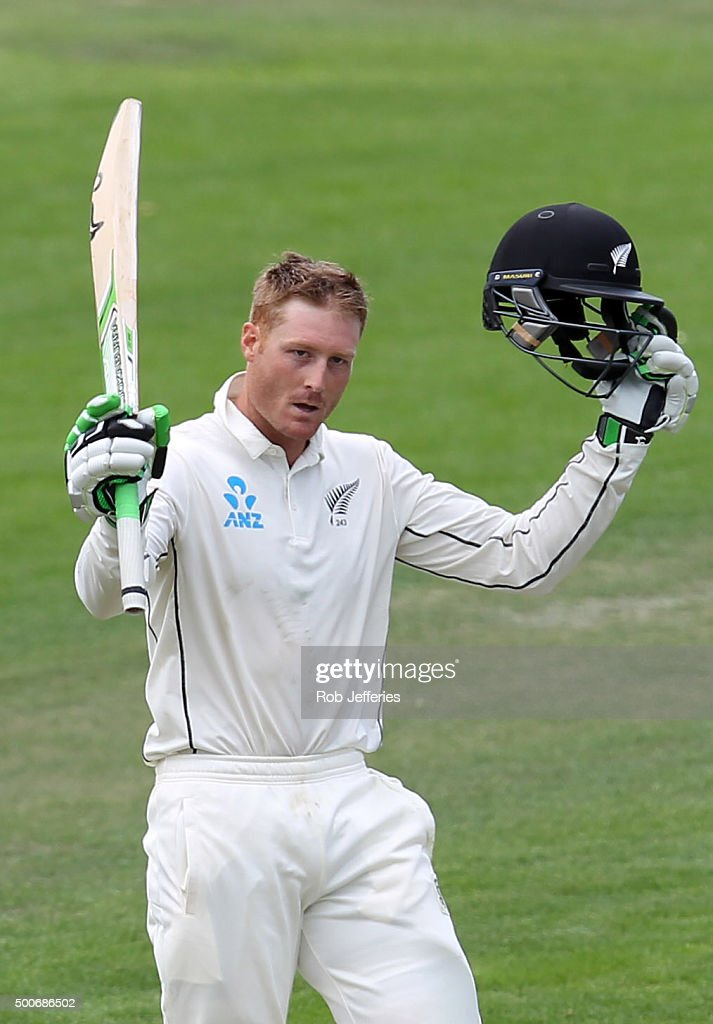 <a gi-track='captionPersonalityLinkClicked' href=/galleries/search?phrase=Martin+Guptill&family=editorial&specificpeople=797559 ng-click='$event.stopPropagation()'>Martin Guptill</a> of New Zealand celebrates scoring 100 runs during day one of the First Test match between New Zealand and Sri Lanka at University Oval on December 10, 2015 in Dunedin, New Zealand.